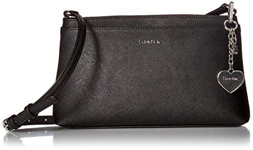 Calvin Klein Saffiano Zip Crossbody, Black/Black by Calvin Klein