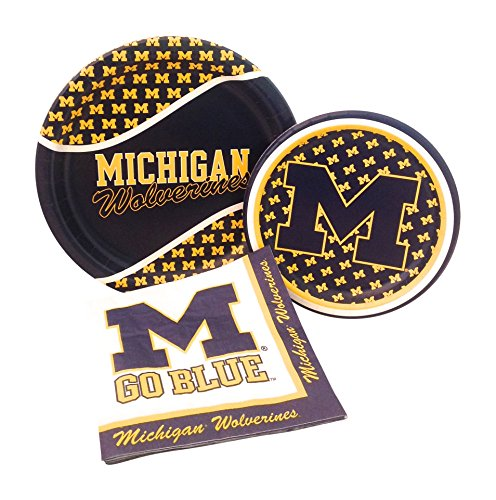University of Michigan Wolverines Party Supply Pack! Bundle Includes Paper Plates & Napkins for 8 Guests]()