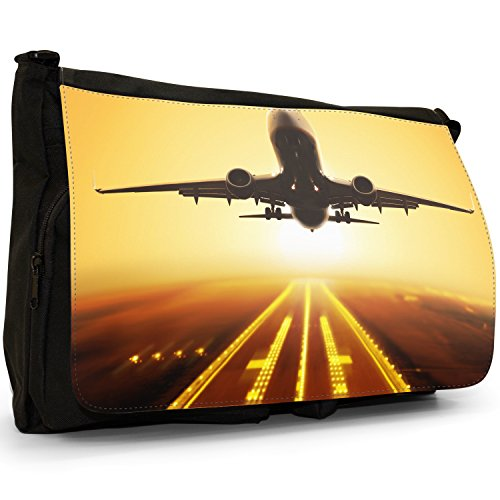 Laptop Messenger Shoulder Canvas amp; Aeroplanes Sunset Black Runway Planes With Airplane School Airplanes Bag Large CxS1TxwAq