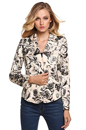 Femmes Mode Manteau Femme Rembourrée Bouton Brun Veste Revers Col Blazer Floral Cravog À A5qX4nWxwC