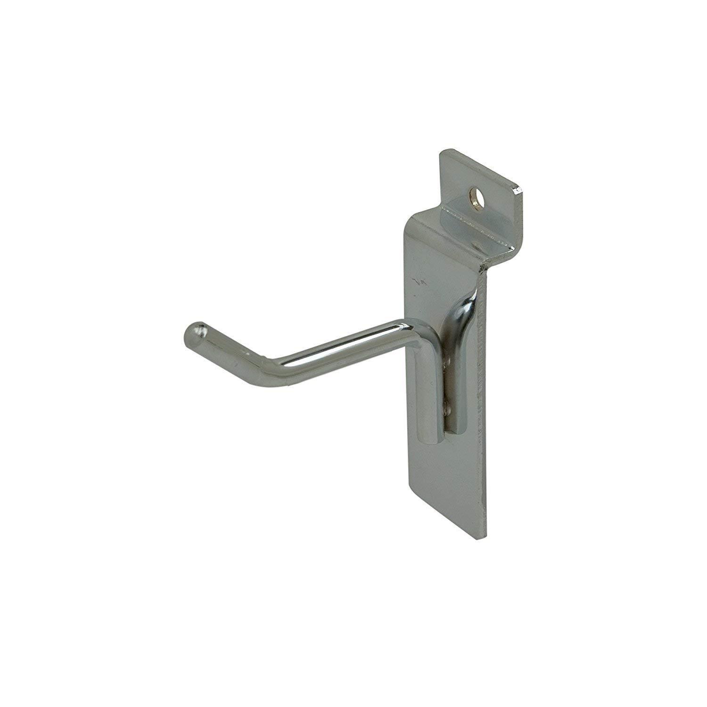 """Econoco 2"""" Slatwall Deluxe Hooks, Slatwall hooks, Display Hooks For Panel, Chrome, (Pack of 96)"""