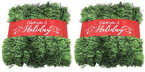 50 Foot Garland for Christmas Decorations - Non-Lit Soft Green Holiday Decor for Outdoor or Indoor Use - Premium Quality Home Garden Artificial Greenery, or Wedding Party Decorations (Pack of 2) from Celebrate A Holiday