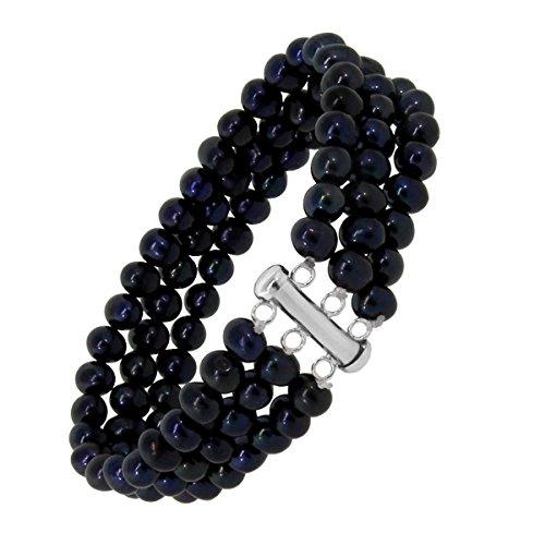 (Gem Stone King 3 Strands 6-7mm Cultured Freshwater Bracelet With 925 Sterling Silver Lock)