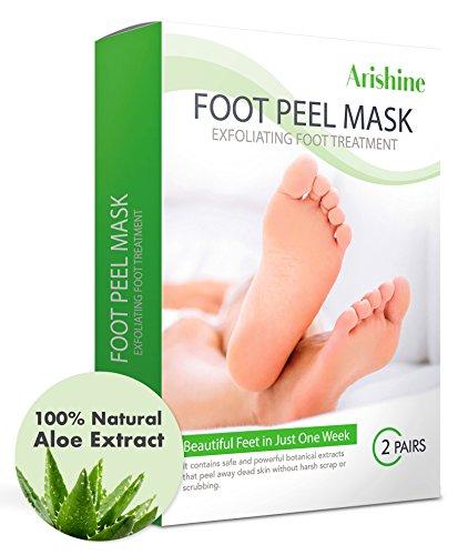 Arishine Exfoliating Foot Peel Mask, 2 Pairs Soft & Smooth Feet, Peeling Away Rough Dead Skin & Calluses in 1-2 Weeks(Green)