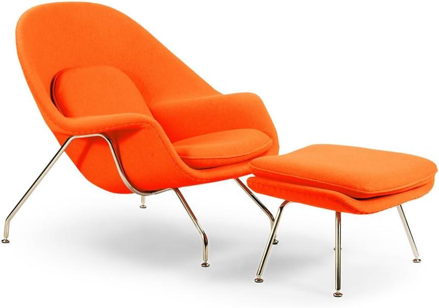 Kardiel Womb Chair Ottoman, Orange Boucle Cashmere Wool