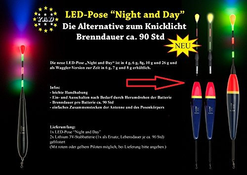 Eunicell Vertrieb Deutschland 1x-LED-YAD-Pose-Night-and-Day 10 Gramm ROTER Pilot inkl-2-x-Stabbatterien CR435 3V