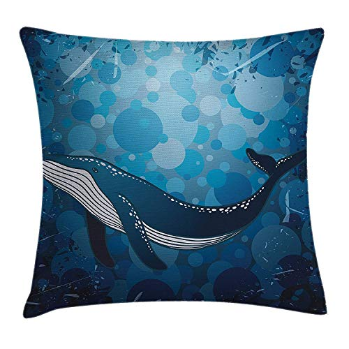 (Whale Throw Pillow Cushion Cover, Vintage Whale Poster Motif on Marine Grunge Backdrop Retro Ocean Graphic, Decorative Square Accent Pillow Case, 18 X 18 Inches, Petrol and Violet Blue)