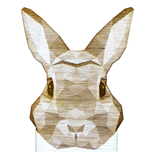(Laser Engraved Custom Geometric Wooden Rabbit Bookmark. Laser Cut from Birch Wood. Unique Gift for Animal Lovers and Beloved Readers.)
