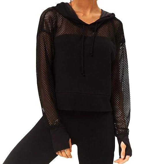 YUAFOAE Sudadera Mujer con Capucha,Malla Perspectiva Blusa Transparente Camisetas de Manga Larga Tops Clubwear