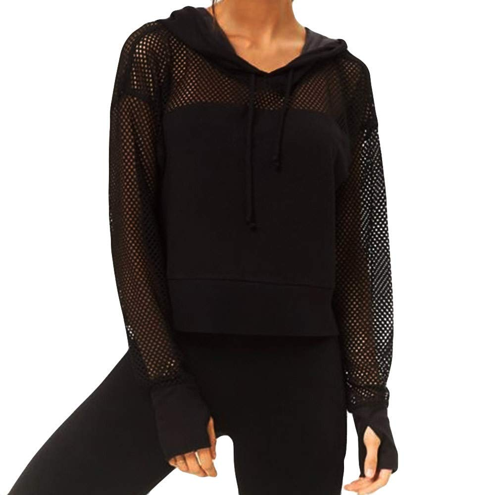Maonet Women's Fashion Solid Long Sleeve Top Hollow Blouse Hooded T-Shirt (L, Black)