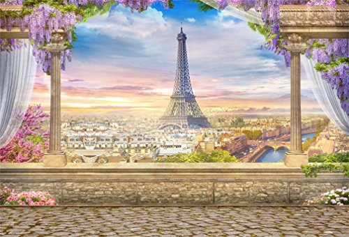 - AOFOTO 7x5ft Eiffel Tower Backdrop Retro Column Paris Landscape Architecture Balcony Overlook Streetscape Photography Background Terrace Fancy Aerial Veranda Wedding Bride Newlyweds Photo Studio Props