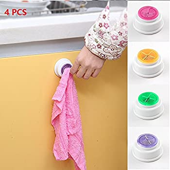 Doptou 4PCS Self-Adhesive Back Wash Cloth Dishcloth Holder Rag Holder Rubber Push-in Wall Mounted Towel Rack Click Towel Holder for Kitchen/Bathroom Accessory