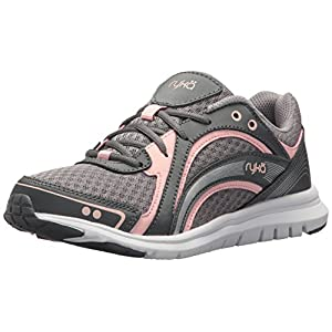 RYKA Women's Aries Walking Shoe, Grey/Rose, 8 M US
