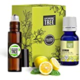 Speaking Tree - Lemon Essential Oil -100% Pure, Natural, Undiluted & Therapeutic Grade - Perfect for Aromatherapy, Skin Therapy & Household Uses - 15ml with Steel roller bottle