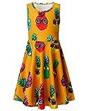 Leapparel Kids Girls Skater Dress Floral Sunglasses Pineapple Print Summer Party Sun Dress XL