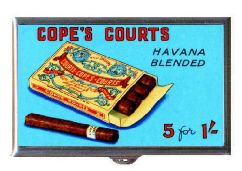 1925 Cigar Havana Cuba Cope's Courts Advertising Art Guitar Pick or Pill Box USA Made (Court Cigars)