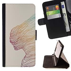 """For Sony Xperia M5 E5603 E5606 E5653,S-type Mujer del extracto del trullo Arte amarillo"""" - Dibujo PU billetera de cuero Funda Case Caso de la piel de la bolsa protectora"""
