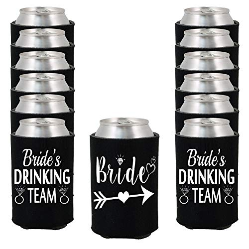 Shop4Ever Bride and Bride's Drinking Team Can Coolie Wedding Drink Coolers Coolies Black - 12 Pack]()