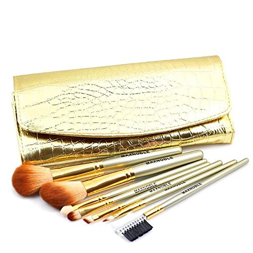 Brendacosmetic 7 PCS Professional Golden Nylon Wool Makeup Brush Set Cosmetics Brush,Essential Blush Eyeshadow Brush Makeup Tool with Golden Bag for Facial Beauty