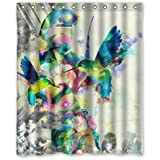 Hummingbird Watercolor Painting Waterproof Shower Curtains Shower Rings Included - Polyester Fabric, 60(w) x 72(h)