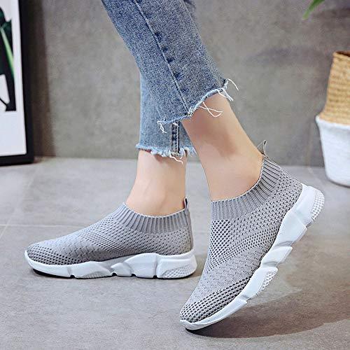 Modaworld Da Sportive Suole Su Casual Scarpe Sneaker Esterna Donna Slip Donna In Confortevoli Grigio Esecuzione Maglia scarpe pqqfwt
