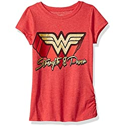 DC Comics Big Girls' Wonder Woman T-Shirt, Red, 10/12