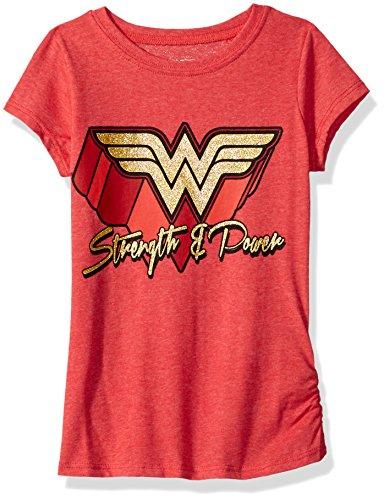 DC Comics Girls' Big Wonder Woman T-Shirt, red, 7/8