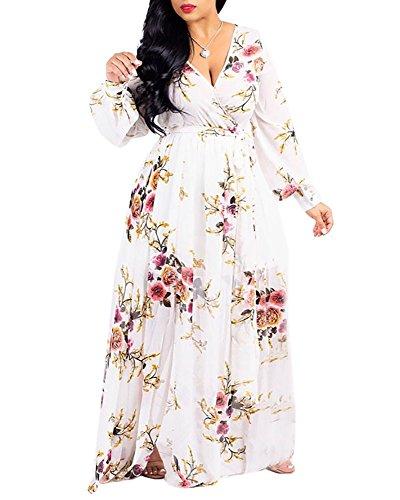 Bbalizko Womens Floral Dresses V Neck Long Sleeve Chiffon Flowy Long Maxi Dress