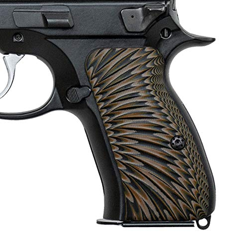 Cool Hand CZ 75 Compact G10 Grips, Sunburst Texture, Brand Coyote Color