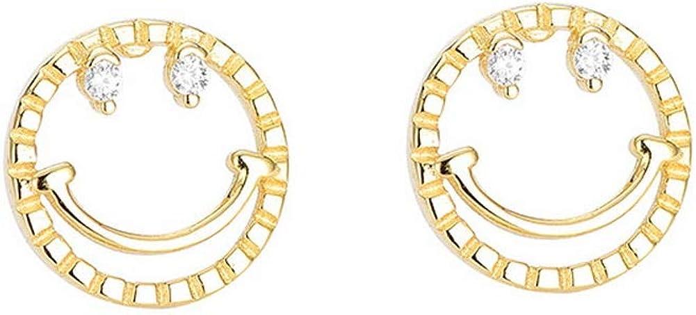 YAZILIND mujeres 925 plata de ley lindo oro sonrisa zircon aretes de la joyería de la moda regalo