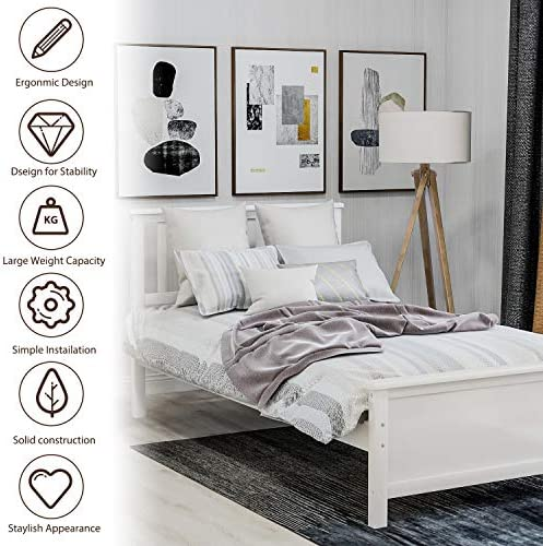 Harper&Bright Designs Wood Platform Bed with Headboard, Footboard, Wood Slat Support, No Box Spring Needed(Twin, White) 51hIcnwlVkL