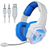 SADES SA806 Stereo Gaming Headset USB 3.5mm Blue Led Lighting Headphone with Microphone for [New Xbox One] Laptop PC PS4 Mac(White-Blue)