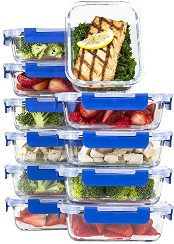 [10 SETS VALUE PACK] Glass Meal Prep Containers – Glass Food Storage Containers with Lids Meal Prep – LIFETIME Lids - Lunch Containers Portion Control Containers -BPA Free Containers(24 ounce/3 cups)