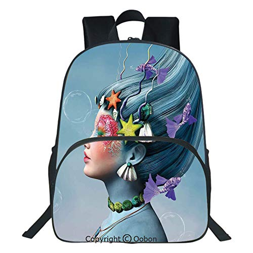 Oobon Kids Toddler School Waterproof 3D Cartoon Backpack, Woman with Underwater Themed Make Up Hairstyle Starfishes Seashells Fishes Bubbles, Fits 14 Inch Laptop