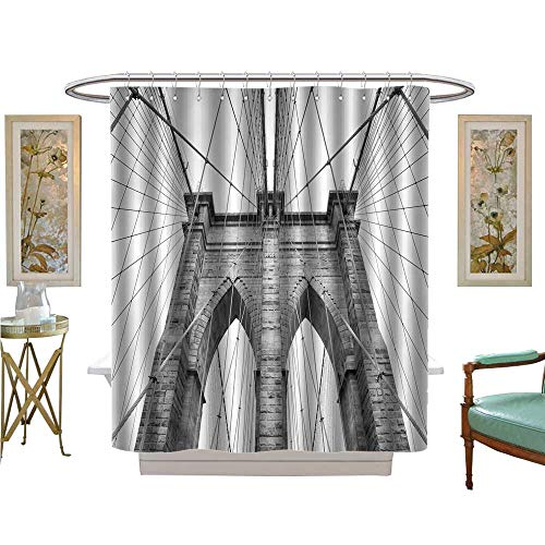 luvoluxhome Shower Curtains with Shower Hooks Brooklyn Bridge New York City Architectural Detail in Timeless Fabric Bathroom Set with Hooks W48 x L72