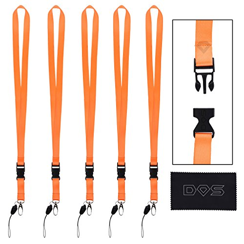 5 Pack of Neck Lanyards with Detachable Buckle, Enhanced Model Hook and Quick Release Tether - Ideal for ID Badges, Keys, Cell Phones, USB Sticks, Whistles, etc. - Strong Nylon (5 Pack, Orange)