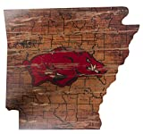 NCAA Arkansas Razorbacks 21'' x 23'' State Cutout with Logo Wood Sign