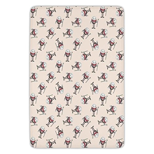 Humpty Dumpty Rug - Bathroom Bath Rug Kitchen Floor Mat Carpet,Alice in Wonderland,Humpty Dumpty Egg Dancing Character Fairy Alice Fantasy Decor,Pink Brown Red,Flannel Microfiber Non-slip Soft Absorbent