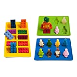 WQYK Silly Candy Molds & Ice Cube Trays for Building Bricks and Figures Lovers