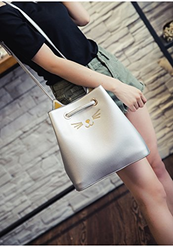 Bucket Leather Shoulder Cat Bags Silver Tote Ear for Pu and Wallet Cute Pouch women Bag girls qXt0q