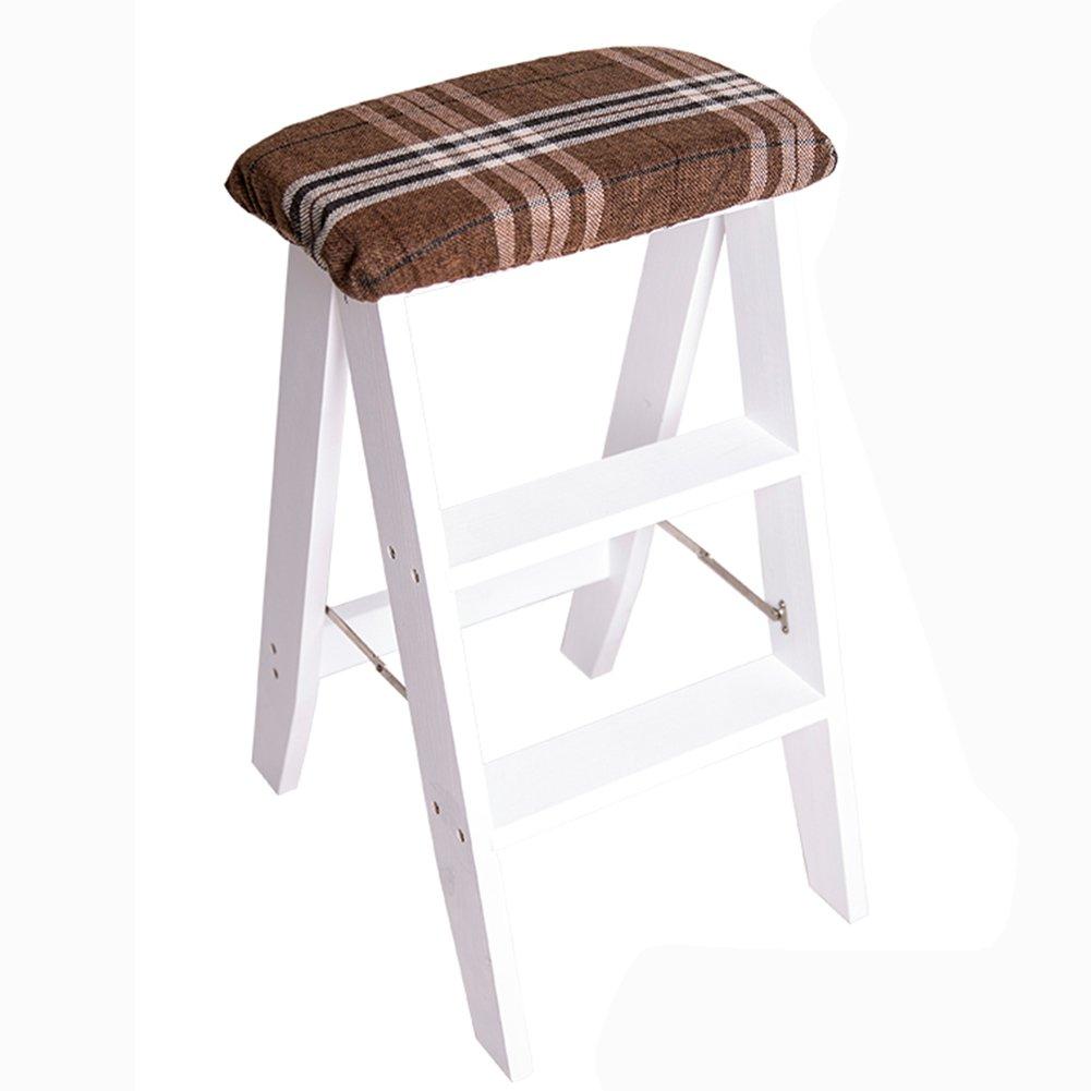3ステップスツール折りたたみラダースツールソリッドウッド家庭室内の創造性キッチンダイニングテーブルバーチェアアダルトポータブル (色 : 白, サイズ さいず : Plaid stripes) B07D6Z7GM3  白 Plaid stripes