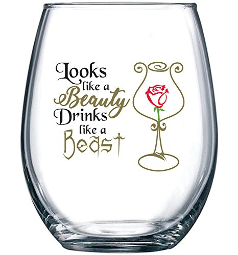 (Looks Like a Beauty, Drinks Like a Beast | Funny Disney Princess Wine Glass | Perfect Girlfriend Birthday Gifts | Best Friend Gift For Women | Belle Rose Movie Themed)