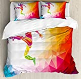 Teen Room Decor Queen Size Duvet Cover Set by Ambesonne, Fractal Soccer Player Hitting the Ball Polygon Abstract Artful Illustration, Decorative 3 Piece Bedding Set with 2 Pillow Shams, Multicolor