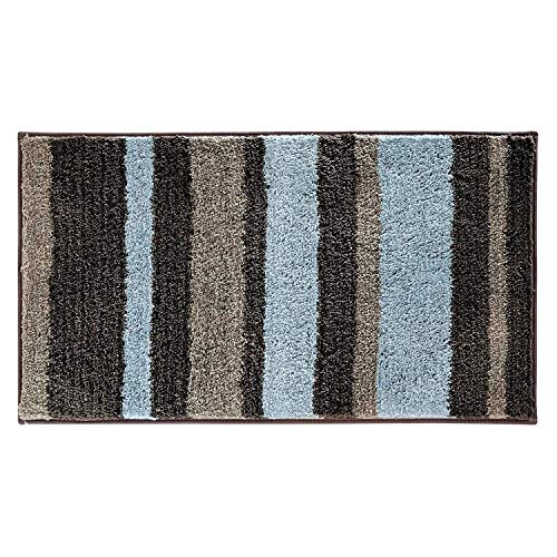 HEBE Non-Slip Microfiber Bath Rug Mat and Runner for Bathroom Extra Soft Thick Bathroom Rug Floor Carpet Water Absorbent Machine Washable (Z Mocha, 18×47.2)