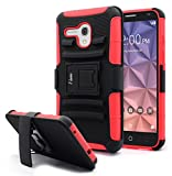 "Jitterbug Smart Case, NageBee [Heavy Duty] Armor Shock Proof Dual Layer [Swivel Belt Clip] Holster with [Kickstand] Combo Rugged Case for Jitterbug Smart Easy-to-Use 5.5"" - Red"