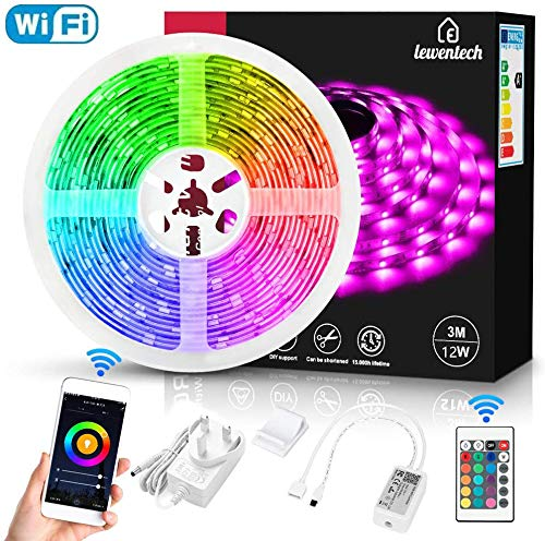 Smart WiFi LED Strip Lights 9.8ft 3M, Lewentech Works with Alexa, Google Home Brighter 5050 LED, 16 Million Colors Phone App Controlled Light Strip for Home, Kitchen, TV, Party, for iOS and Android