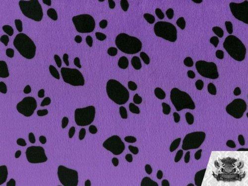 (Velboa Faux / Fake Fur Paw Print PURPLE Fabric By the Yard)