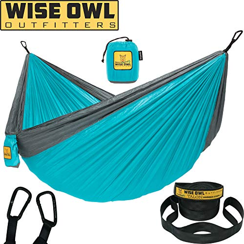 Wise Owl Outfitters Hammock for Camping Single & Double Hammocks Gear for The Outdoors Backpacking Survival or Travel - Portable Lightweight Parachute Nylon SO Lt Blue & Grey ()