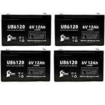 4x Pack - PARA SYSTEMS Minuteman A500 Battery - Replacement UB6120 Universal Sealed Lead Acid Battery (6V, 12Ah, 12000mAh, F1 Terminal, AGM, SLA) - Includes 8 F1 to F2 Terminal Adapters