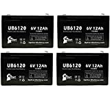 4x Pack - UB6120 Universal Sealed Lead Acid Battery Replacement (6V, 12Ah, 12000mAh, F1 Terminal, AGM, SLA) - Includes 8 F1 to F2 Terminal Adapters - Compatible with ATLITE PS6100, Alaris Medical Infusion Pump 800 Series, B&B Bp12-6, Cf 8k2u, Csb/Prism Gp